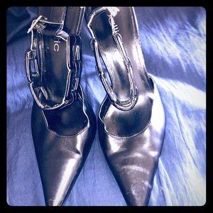 2 pairs of black buckle around ankle black heels 6